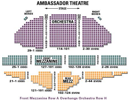 Ambassador Theatre Seating Plan NYC at theatregold.com