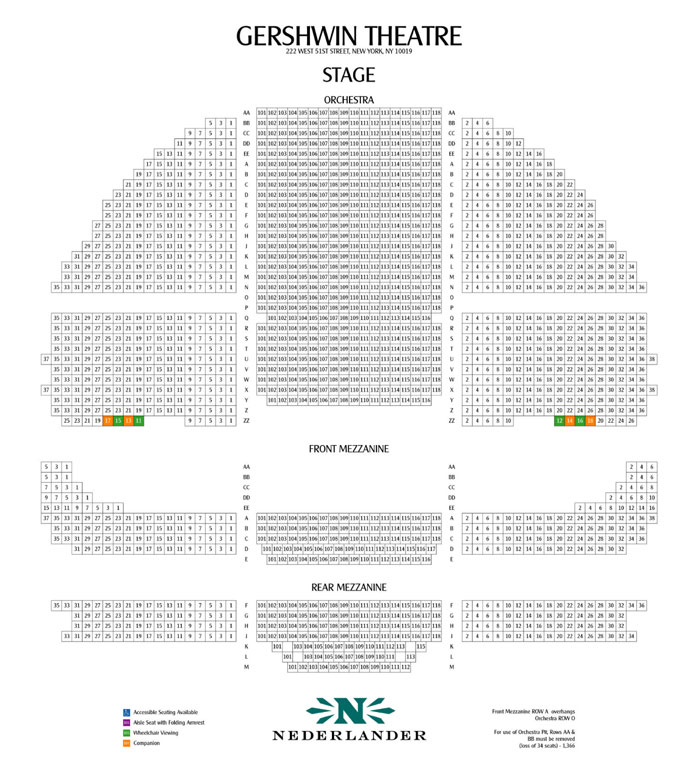 Gershwin theatre seating chart and access information