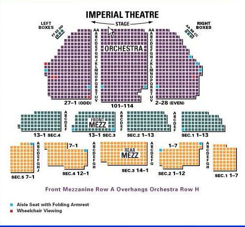 Imperial theatre seating chart and access information