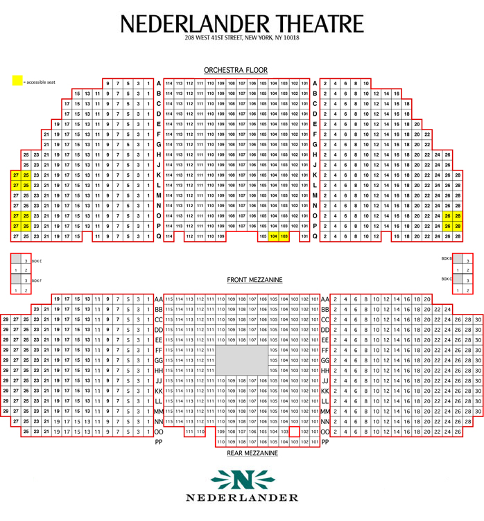 Nederlander theatre seating chart and access information